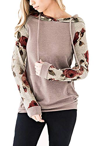 Hooded Pullover Bella (Alelly Long Sleeve Spliced Color Drawstring Hoodies Sweatshirt Pullover Tops with Pocket)