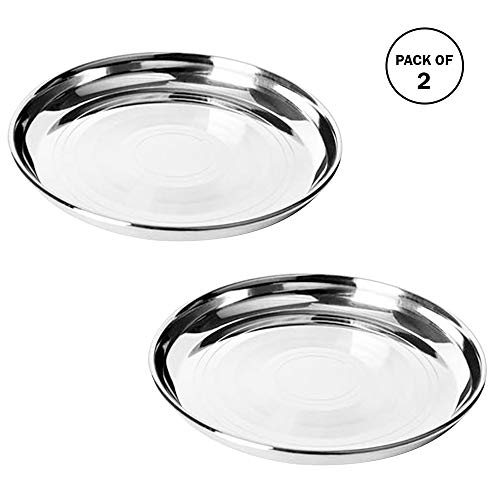 IndiaBigShop Stainless Steel Quarter Pate | Dinner Plate | Mess Trays Great for Camping | Set of 2 ()