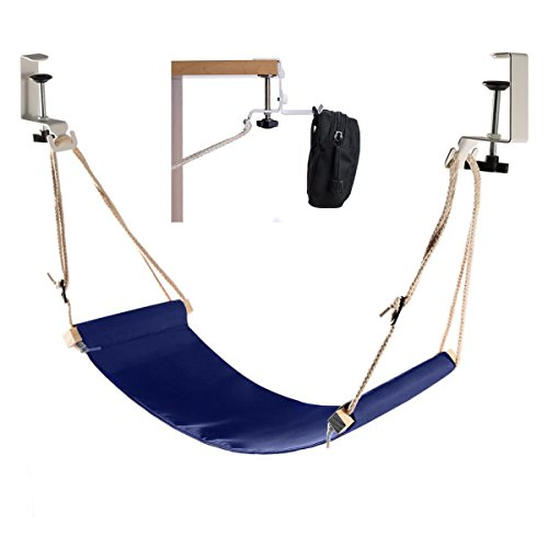 Elelink Portable Adjustable Mini Office Foot Rest/Foot Stool Stand Desk Foot Hammock with Headphones Holder,Footrest with Upgraded Screw In Rubber Clamps Suitable for All Desk Types(Blue) by Elelink
