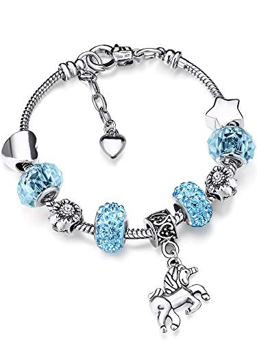 Unicorn Sparkly Crystal Charm Bracelet Bangle with Gift Box Set for Girl Lady (Sky Blue, 18 cm/ 7 Inches) ()