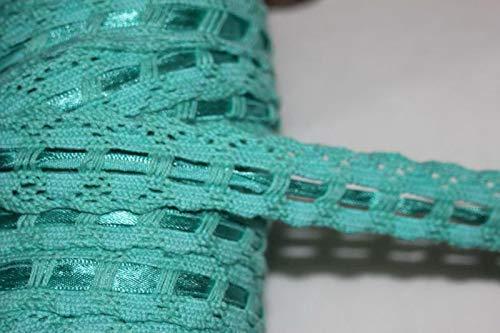 (Ribbon Art Craft Decoration 1 Yard Mint Seafoam Green Cotton Insertion Satin Ribbon Sewing Doll Trim 1