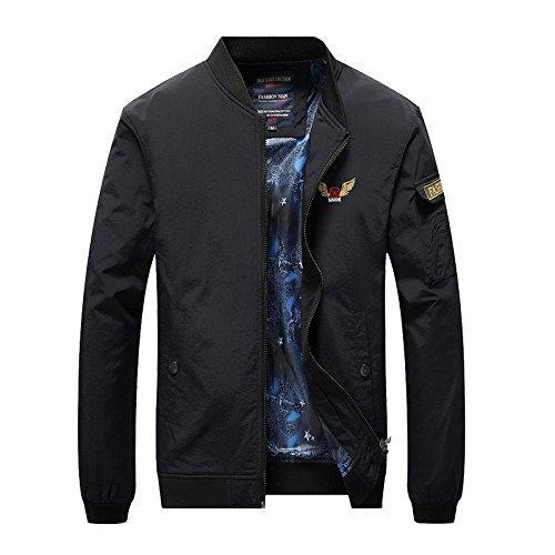 Collar de hombres chaqueta casual chaqueta militar sólido sobretodo puentes Primavera / Otoño, Negro XXXL