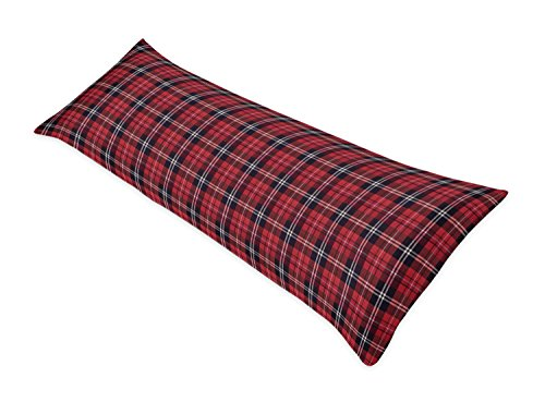 Sweet Jojo Designs Red and Black Woodland Plaid Flannel Body Case Cover for Rustic Patch Collection (Pillow Not Included)