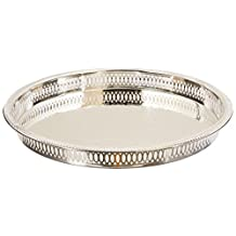 """Elegance Silver 8924 Round Silver Plated Gallery Tray, 12-3/4"""""""