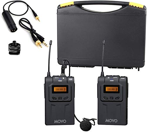Movo WMIC70 Wireless Lavalier Microphone System - 48 Channel UHF Lapel Mic System with Cordless Mic