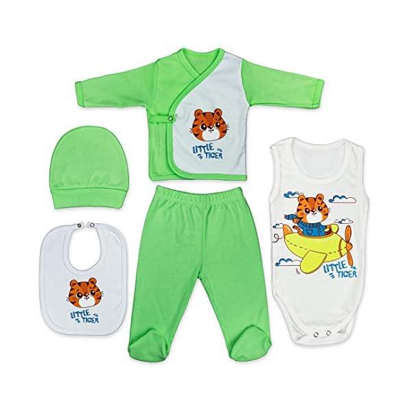 QAR7.3 Completo Vestiti Neonato 0-3 mesi - Set Regalo, Corredino da 5 pezzi: Body, Pigiama, Bavaglino e Cuffietta (Verde… 1