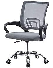 OFCASA Grå datorskrivbordsstol med armar verkställande kontorsstol höjd justerbar svängbar stol på hjul nätstol för barn vuxna hem kontor skrivbord