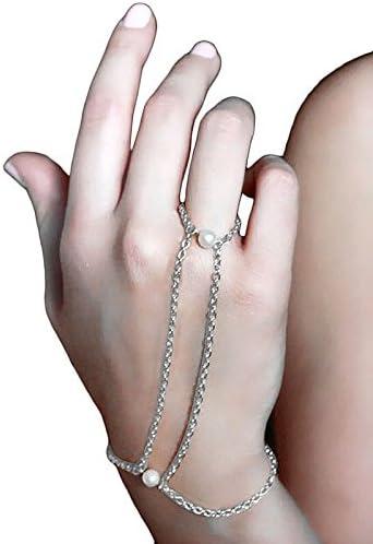 ダブルパールフィンガーブレス ジョイントリング フィンガーブレスレット 指輪と腕輪をつなぐ 結婚式 卒業式 パーティジュエリー