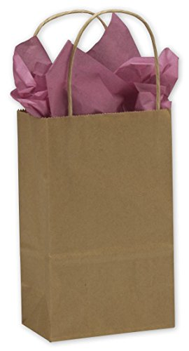 Kraft Paper Shoppers Mini Cub, 250 Count, 5 1/4 x 3 1/2 x 8 1/4