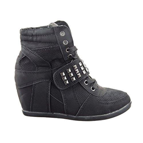 Sopily - Scarpe da Moda Sneaker Zeppa alti donna Tacco zeppa 10 CM - soletta pelle - Nero
