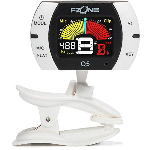 Fzone Q5 Chromatic Clip-on Tuner for Guitar, Ukulele, Bass, Violin, Banjo and Woodwind Instruments, Full Color LCD,Extra Mic Function-A4 Calibration (Contact Guitar Tuner)
