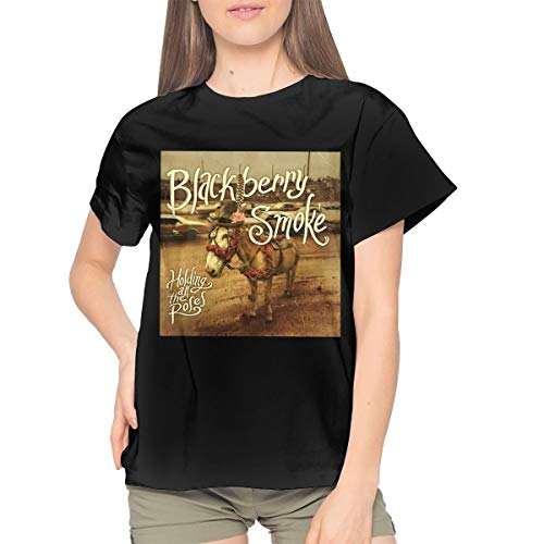 Maria D Miller BlackBerry Smoke Holding All The Roses Womans Soft Sexy Youth Girls Tshirts XXL ()