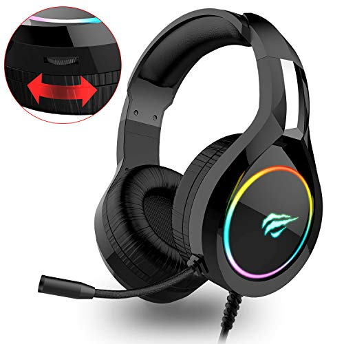 havit RGB Wired Gaming Headset PC USB 3.5mm XBOX / PS4 Headsets with 50MM Driver, Surround Sound & HD Microphone, XBOX One Gaming Overear Headphones for Computer Laptop, Black (H2011d)