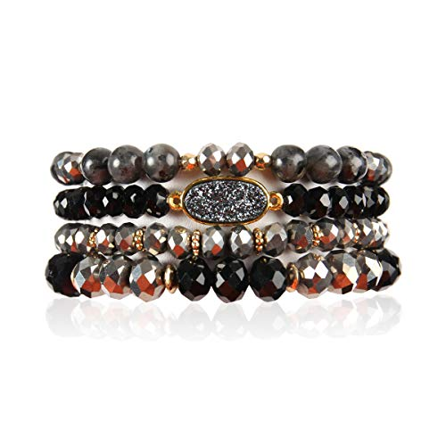 RIAH FASHION Bead Multi Layer Versatile Statement Bracelets - Stackable Beaded Strand Stretch Bangles Sparkly Crystal, Faux Druzy, Pave Fireball (Oval Acrylic Druzy - Black) ()