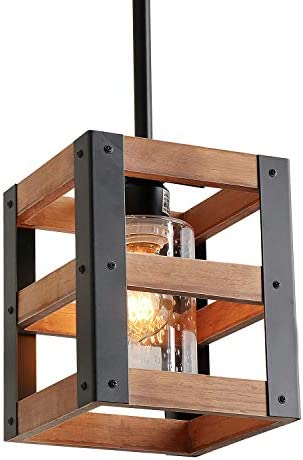 Eumyviv Farm Style Wood Kitchen Pendant Light