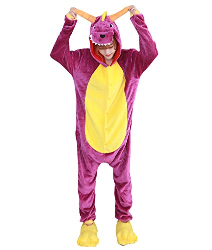 Home Halloween Costumes Ideas For Women (Duraplast Adult Halloween Dragon Costume One-Piece Hooded Onesie Pajamas (Purple,S))