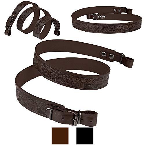 BronzeDog Embossed Rifle Strap Genuine Leather Adjustable Belt Hunting Shotgun Sling (Brown - Animals Embossing)