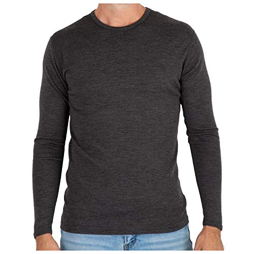MERIWOOL Men's Merino Wool Midweight Baselayer Crew - Charcoal Gray/L ()