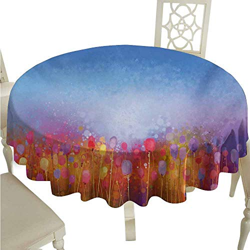 duommhome Flower Durable Tablecloth Abstract Tulip Garden Under Blue Sky in Medieval Ottoman Orient Culture Symbols Easy Care D59 Multicolor ()