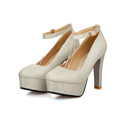 VogueZone009 Damen Hoher Absatz Weiches Material Rein Schnalle Rund Zehe Pumps Schuhe Silber