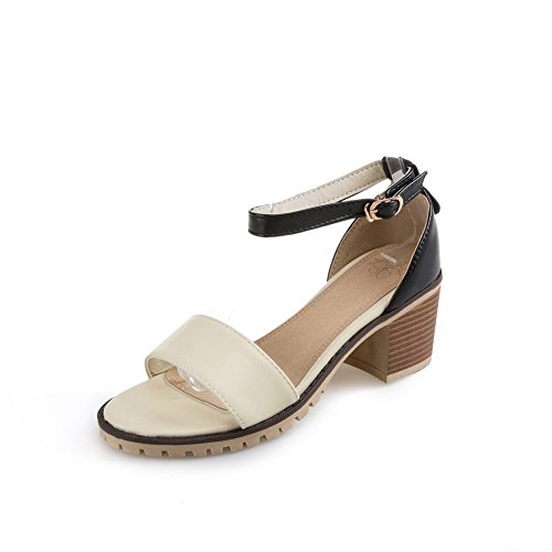 Heels Toe Beige Sandalen Round Urethan Knöchelverpackung Chunky Damen AdeeSu EHwAxqUpq