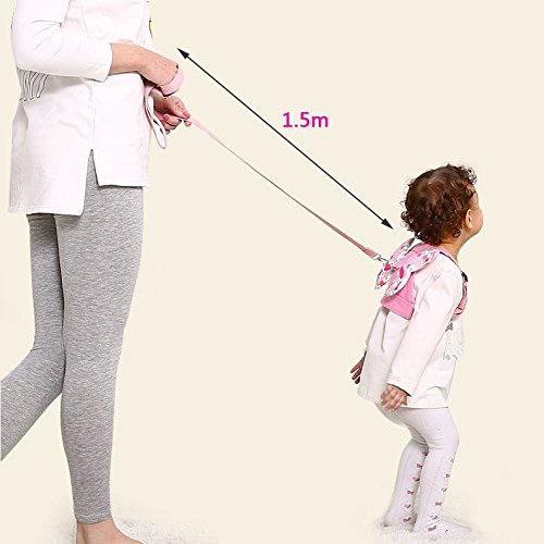 Anti Lost Wrist Link + Toddlers Leash 2 packs Child Walking Safety Harness Kids Wristband Assistant Strap Belt (Butterly pink) by Standard (Image #4)