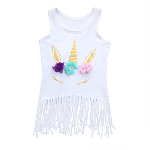 Price comparison product image Rucan Little Girls Lovely Sleeveless Unicorn Tassel Dress Floral Party Dress (B,  5-6 Years)