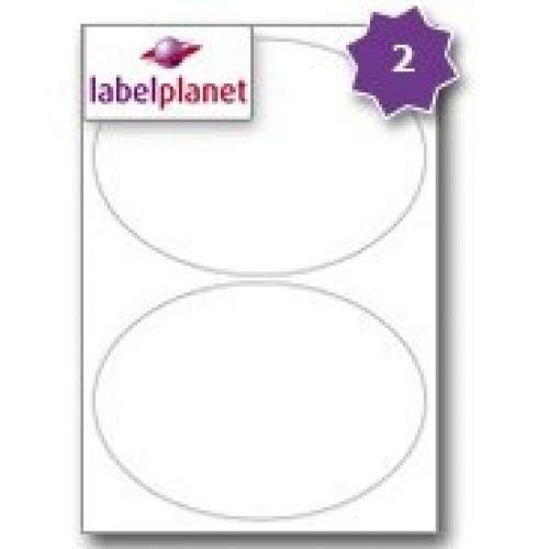 2 Per Page/Sheet 5 Sheets (10 EXTRA LARGE OVAL Sticky Labels) Label Planet® A4 White Blank Plain Matt Self-Adhesive Permanent Laser and Inkjet Printer Printable Stickers, 195 x 139 MM, UK LP2/195OV Multi-Purpose, Used For Wine Bottle Labelling