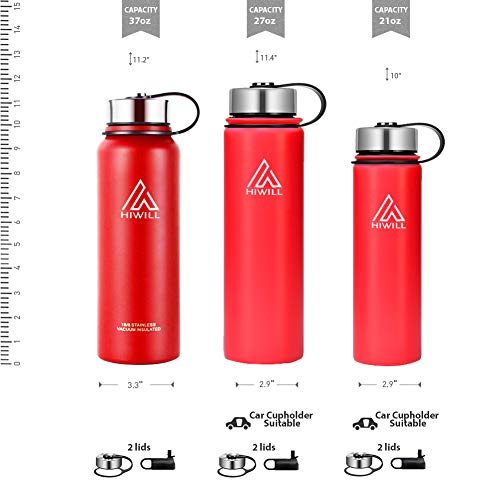 Hiwill Stainless Steel Insulated Water Bottle 2 Lids, Cold 24 Hours Hot 12 Hours, Double Wall Vacuum Thermos Flask, Travel Sports Leak Proof Metal Bottle with Straw, BPA Free (Cherry, 27 oz)