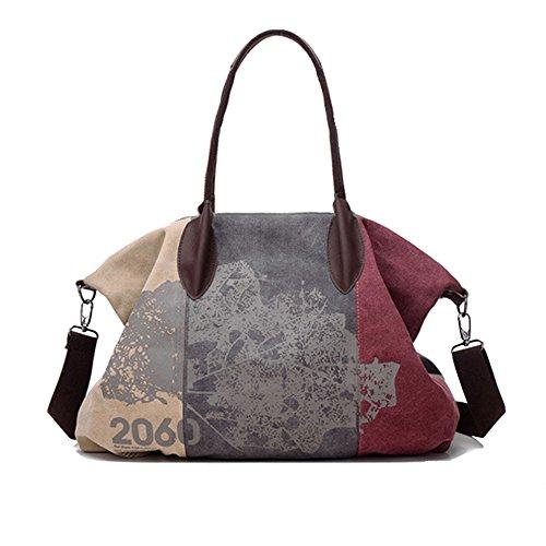 Chikencall Women Ladies Shoulder Bags Casual Vintage Hobo Canvas Handbag Mulit-Pocket Daily Purse Messenger Top Handle Large capacity Tote Shopper Shopping Graffiti Bags and Purse Burgundy