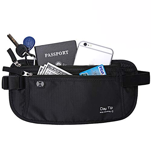 Day Tip Money Belt - Passport Holder Secure Hidden Travel Wallet with RFID Blocking, Undercover Fanny Pack (Black)