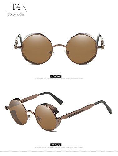 T4 de de de metal reflectante HD marco redondas sol Steampunk para de mujeres retro gafas gafas lente góticas con hombres Vintage gran protección tamaño ATNKE UV400 4fFw5qA