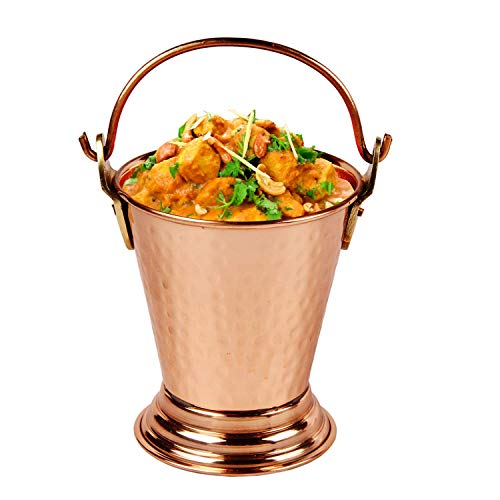 - Aheli Indian Copper Gravy Serveware Bucket for Serving Dal and Curry Dishes Tableware 5 inch Diameter
