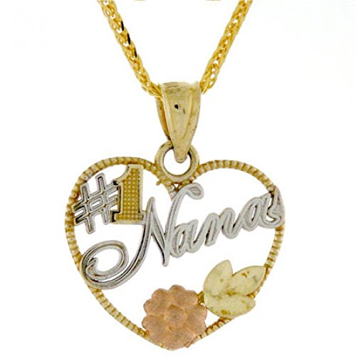 14k Gold Tri-color #1 Nana Heart Rose Flower Leaf Charm - Pendant Tri Gold Color Leaf