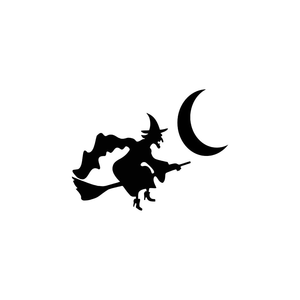 2 inches black silhouette of witch on broom and moon halloween design vinyl decal sticker twin pack 2 in 1