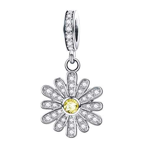 DALARAN 925 Sterling Silver Daisy Charm Bead Fit Bracelet Shining CZ Flower Dangle Charms Pendant for Necklaces