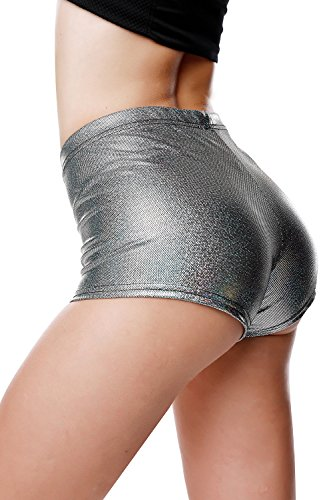 BLACK JACKY Metallic Rave Booty Dance Shorts (Large, BK31090 Black Silver)