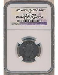 1803 P Draped Half Cent Fine Details NGC