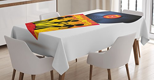 70s Party Tablecloth by Ambesonne, Vinyl Record Cover with Disco Party Illustration Dancers Music Art Print, Dining Room Kitchen Rectangular Table Cover, 60 W X 84 L Inches, Orange Yellow White