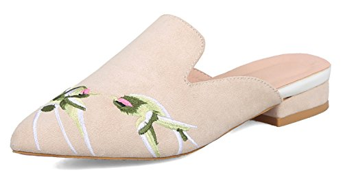 Aisun Women's Embroidered Clogs and Mules Shoes - Closed Pointed Toe Chunky - Slip On Comfort Low Heels Apricot