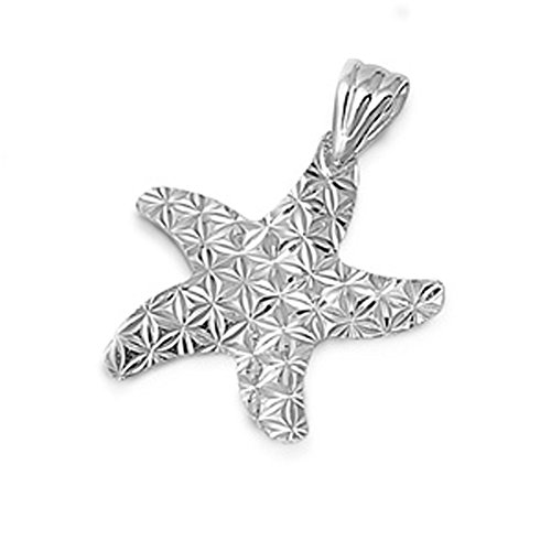Star Textured Starfish Pendant .925 Sterling Silver Diamond-Cut Seashell - Starfish Diamond Pendant Cut