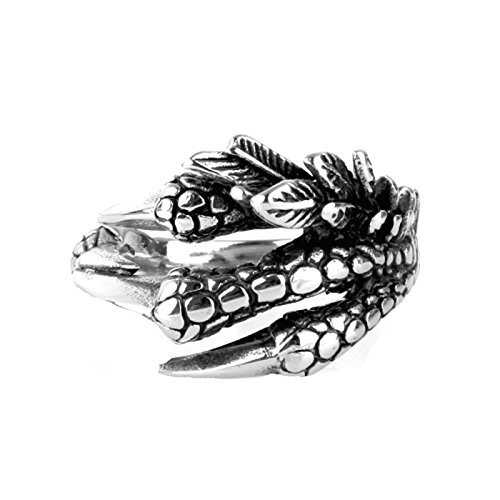 Retro Jewelry Estate Vintage (MoAndy Fashion Ring Men Stainless Steel Vintage Retro Silver Personal Eagle Talon Ring 2CM Size 9)