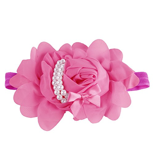 Baby Girl Rose Headband Photo Prop (Hand-made with love) (Pack of 1-Deep Pink)