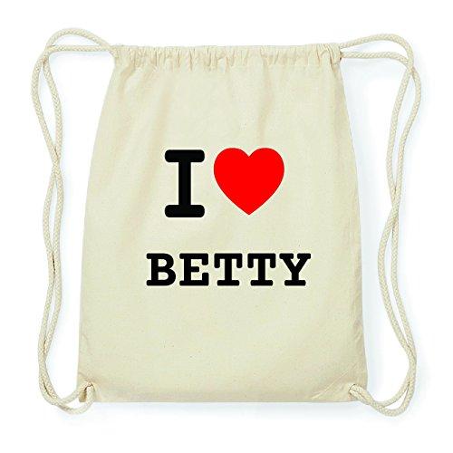 JOllify BETTY Hipster Turnbeutel Tasche Rucksack aus Baumwolle - Farbe: natur Design: I love- Ich liebe