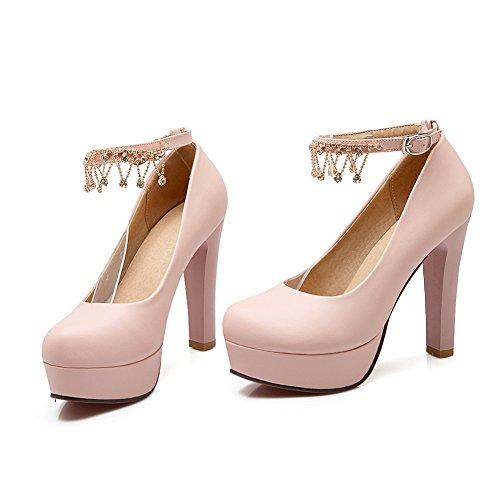 Balamasa Ladies Nappe Tallone Catena Metallo Imitato Pumps-shoes In Pelle Rosa