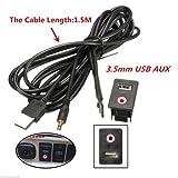 FidgetFidget Audio Cable USB 3.5mm AUX Adapter Dash Flush Mount Panel with 1.5M for Car Boat