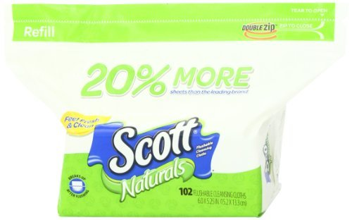 Scott Naturals Folded Flushable Moist Wipes, 102-count Refill (Pack of 24 (102 ct each)) by Scott (Image #3)