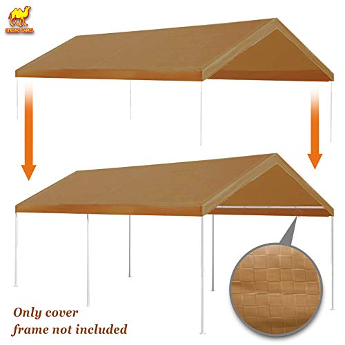 Strong Camel 10'x20' Carport Replacement Canopy Cover for Tent Top Garage Shelter Cover w Ball Bungees (Only Cover, Frame is not Included) (Silver) - Tent Big Top
