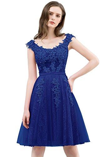 Ärmellos Abendkleid Prinzessin Knielang Babyonlinedress Spitze Perlstickerei Cocktailkleid König Ballkleid Taft Damen Blau 5aq7wT