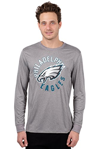 ICER Brands NFL Philadelphia Eagles T-Shirt Athletic Quick Dry Long Sleeve Tee Shirt, Small, Gray (Eagle Long Sleeve Shirt)